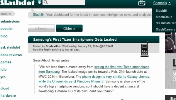 SlashDot is a technical site, news come from readers and a few editors