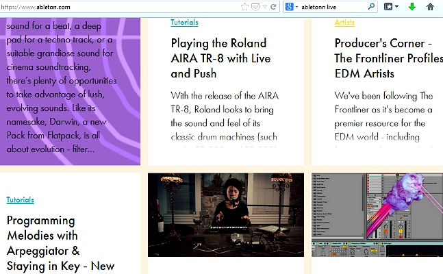 Ableton, an electronic music software company, chose to present cubes with articles similar to picture blogs. A nice design that may be useful with quirky, funky, electronic music world