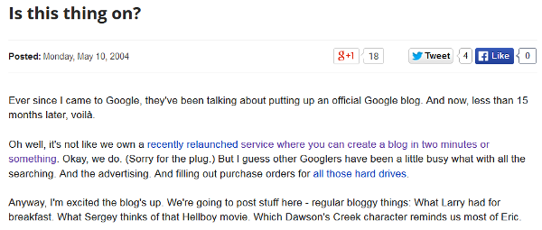 Google's official blog intro post: